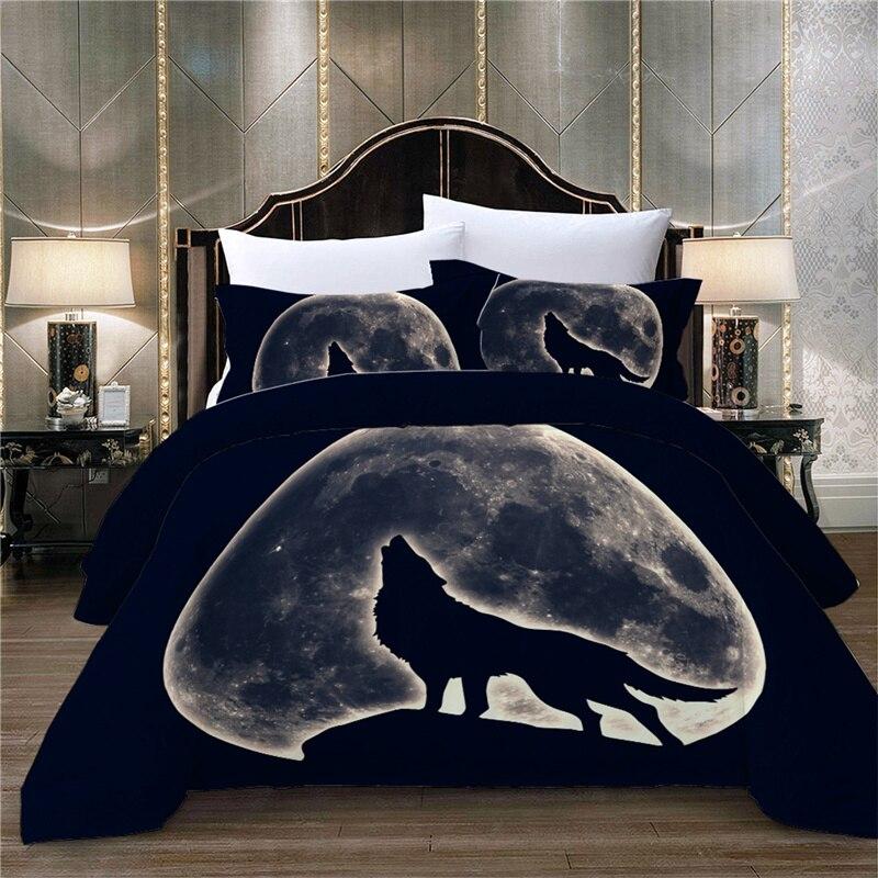 ثلاثية الأبعاد مجموعة غطاء لحاف أسود القمر الذئب واحد طقم سرير مزدوج التوأم كامل الملكة الملك الحجم المفارش طفل الكبار غطاء لحاف المنزل