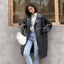Nerazzurri surdimensionné noir long printemps femmes veste en cuir à manches longues goutte épaule fermeture éclair grande taille en vrac faux cuir manteau