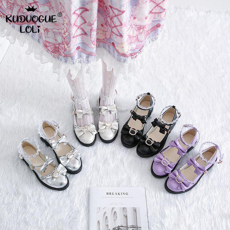 Zapatos de Lolita japoneses de diario, zapatos planos de tacón bajo con cabeza redonda de encaje de Melurus salvaje, zapatos planos de mujer Kawaii, zapatos de cuero pequeños