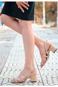 Beige First Class Artificial Leather Heels Women Sandals Shoes COM-KDN-KTP-225692