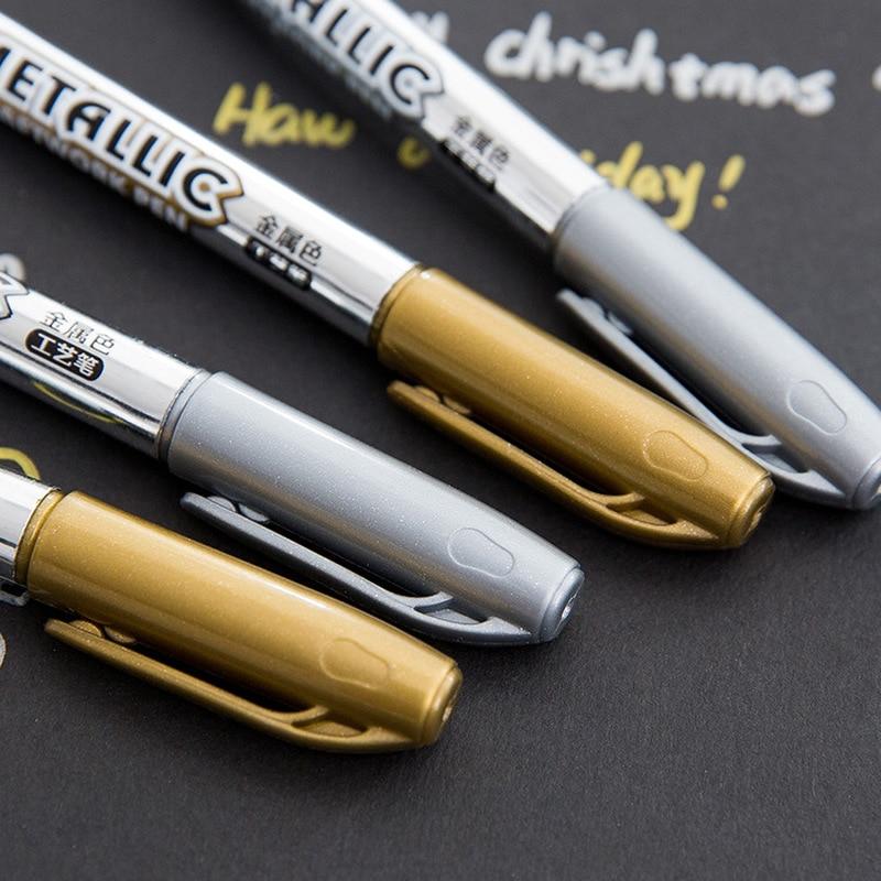 DIY Metal Waterproof Permanent Paint Marker Pens Sharpie Gold And Silver 1.5mm Student Supplies Marker Craftwork Pen