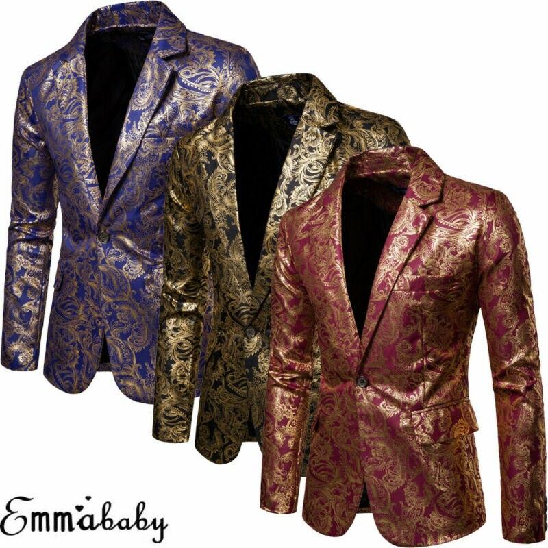 Marca nuevo hombre Slim Fit escenario DJ club un botón Blazer hombre Formal traje de boda traje de hombres Casual Slim Fit traje Formal traje chaqueta