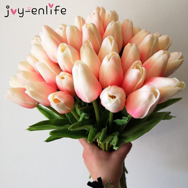 10 Uds. Jardín tulipanes artificiales flores Real touch Kung stmatig voor versiren Tulp ramo para el hogar boda decoración de flor falsa