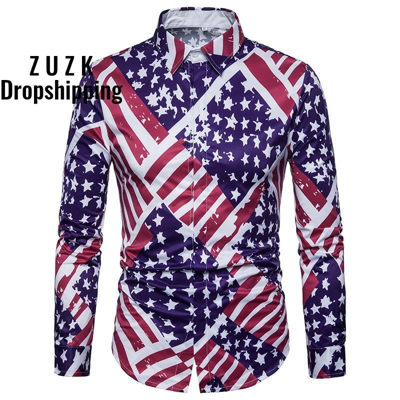 DropshippingNew Men's American Flag Digital Print Long Sleeve Shirt Men Causal Slim Fit Shirt US SIZE