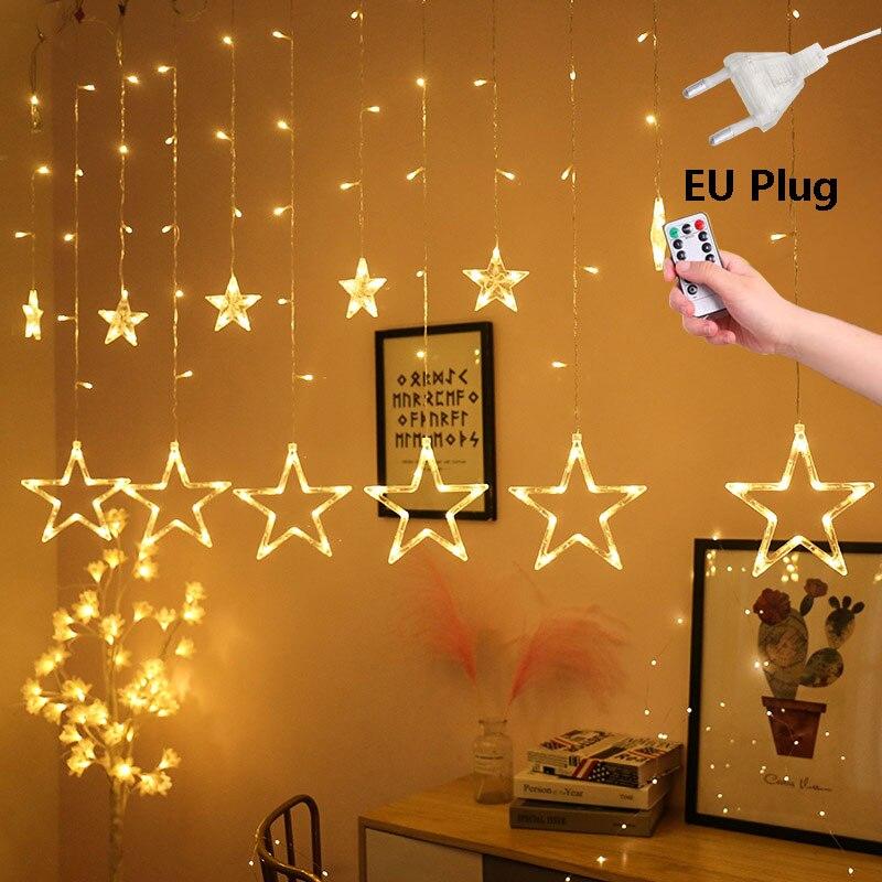 220V LED EU Plug Twinkle Star String Lights Afstandsbediening Outdoor Kerst Slingers Bruiloft Decoratie Gordijn Lichten
