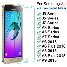 Trempé Verre Protecteur sur Pour Samsung Galaxy A3 A5 A7 J3 J5 J7 2015 2016 2017 A6 A8 Plus A9 2018 Verre Protecteur décran Film