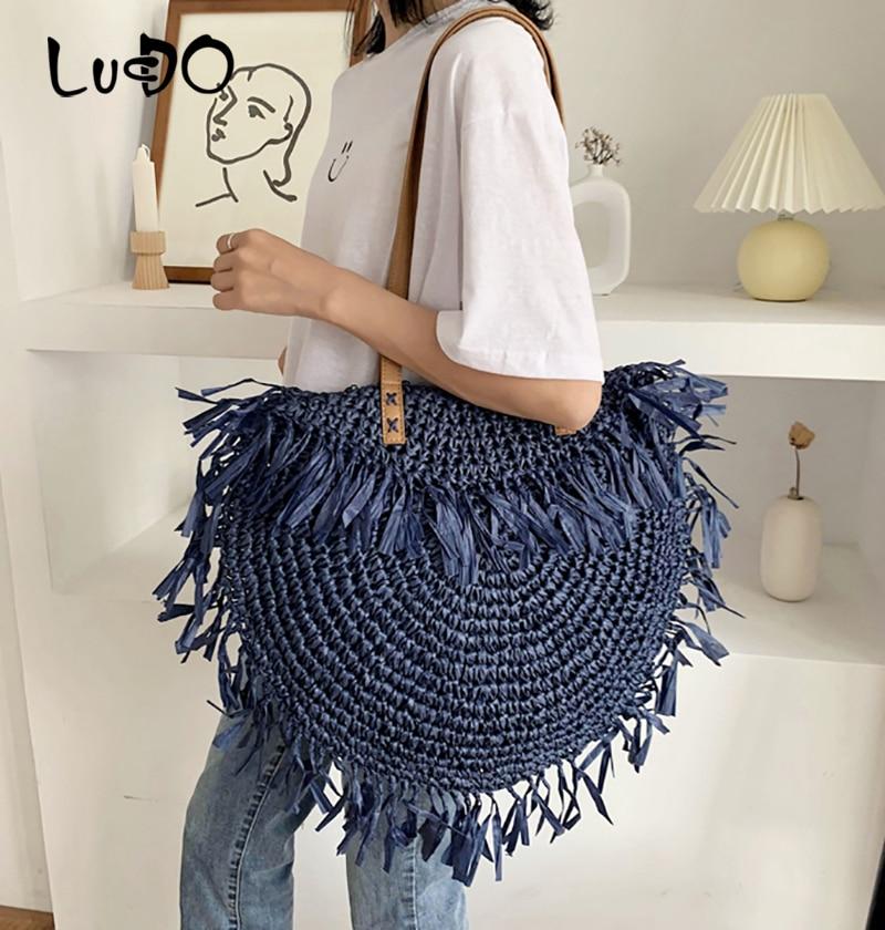 حقيبة يد نسائية من القش ، سعة كبيرة ، حقيبة شاطئ منسوجة يدويًا ، حقيبة بالي بوهيمية ، صيف 2021