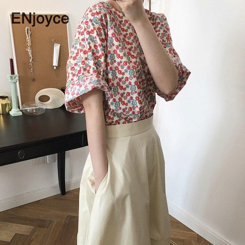 Enjoy yce-تي شيرت عتيق بطبعة زهور للنساء ، ملابس صيفية ، موضة كورية ، نمط كيم هيون ، تي شيرت مثير بأكمام قصيرة