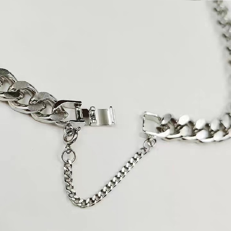Hip-Hop Hipster Buckle Chain Stainless Steel Bracelet for Women Star with the Same Simple and Versatile Bracelet Accessories  - buy with discount