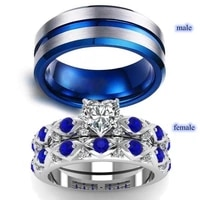couple jewelry ring simple stainless steel ring women bluewhite zircon heart rings set bridal wedding engagement gift