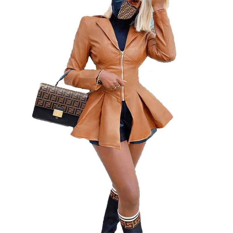 موضة معطف جلد فو النساء 2021 جديد ربيع الخريف أسود براون سترة ضئيلة أعلى مزاجه طويلة بولي معطف معطف جلد الإناث N1441