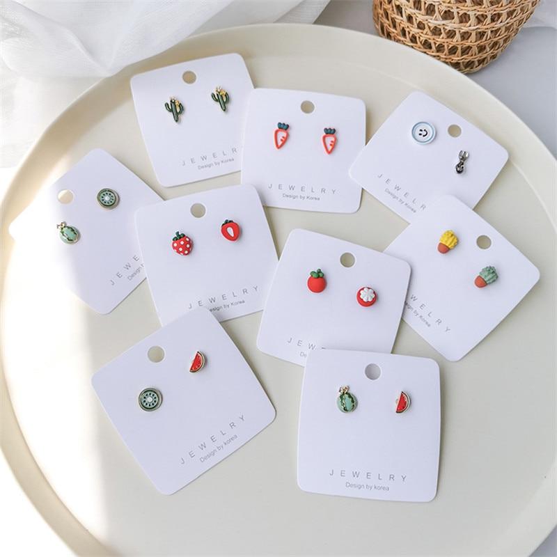 귀여운 딸기 수박 토마토 여자를위한 비대칭 귀걸이 여자 패션 과일 스터드 귀 보석 파티 선물