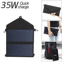 Cargador Solar estanco plegable de 35W con Panel Solar, dispositivos de carga de viaje para acampar al aire libre, para teléfono móvil iPad