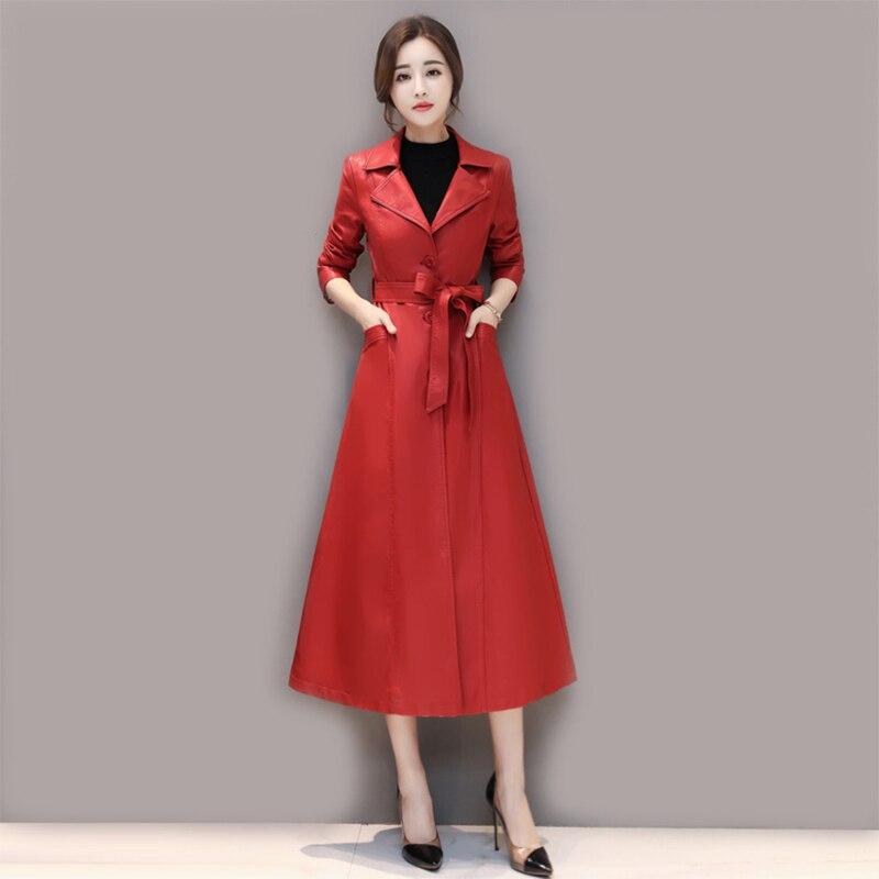 Тренчкот женский кожаный однотонный, длинное ТРАПЕЦИЕВИДНОЕ пальто с отложным воротником и карманами, с поясом, верхняя одежда, осень-зима