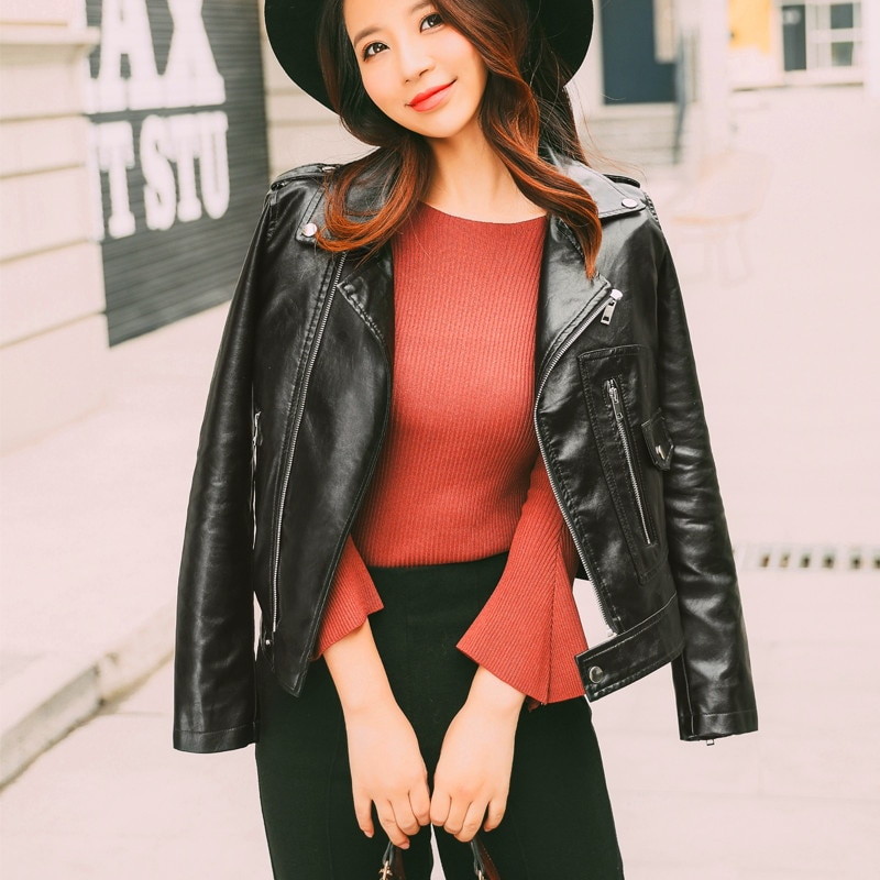 Motorcycle Leather Women's Short Leather Jacket Red Black PU Motorcycle Leather Jacket 2020 Autumn Women Fashion Coat Women enlarge