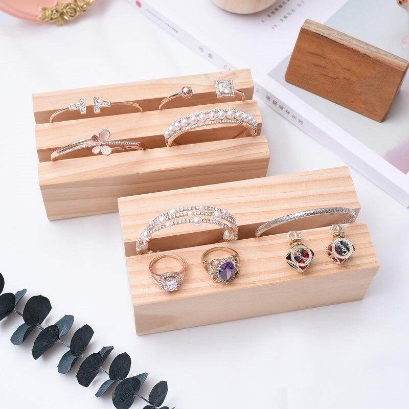خزانة عرض مجوهرات خشبية منصة بيئة الطبيعية الخشب قلادة/أقراط/أساور تخزين أصحاب المنزل الجدول المنظمون