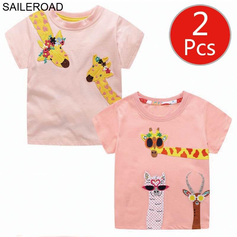 SAILEROAD Boy 2pcs Wholesale T Shirt Animal Applique Girls Clothes Summer Baby Kids Tops for Alpaca Giraffe Children's Clothing