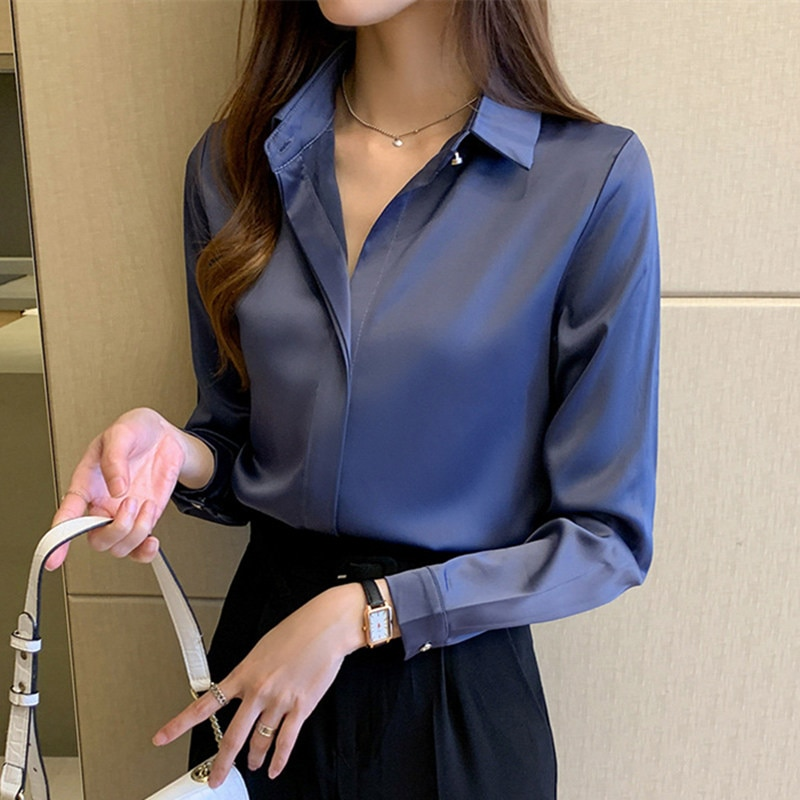 Silk Shirts Women White Shirt Women Long Sleeve Shirts Blouse Office Lady Satin Silk Blouse Tops Plus Size Woman Basic Shirt Top