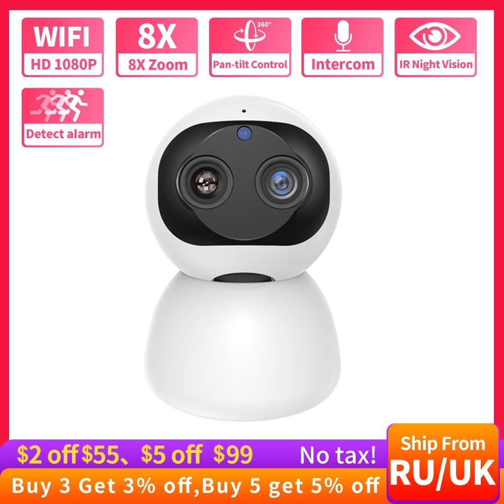 Dual Lens Wifi Camera HD 1080P 8XP Zoom IP Camera Indoor PTZ Auto Tracking Camera Cloud Storage CCTV