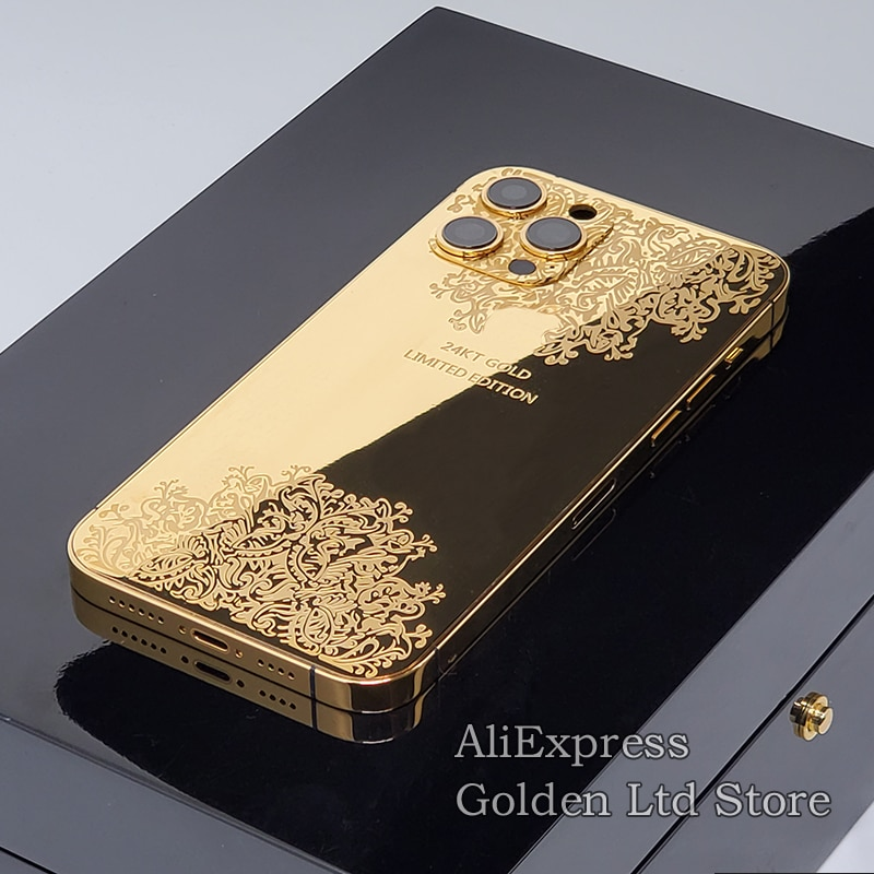 Get 24K Gold Back Housing iphone 12pro/11Pro max plated mirror sculpture decorative pattern limited edition medium frame with Logo