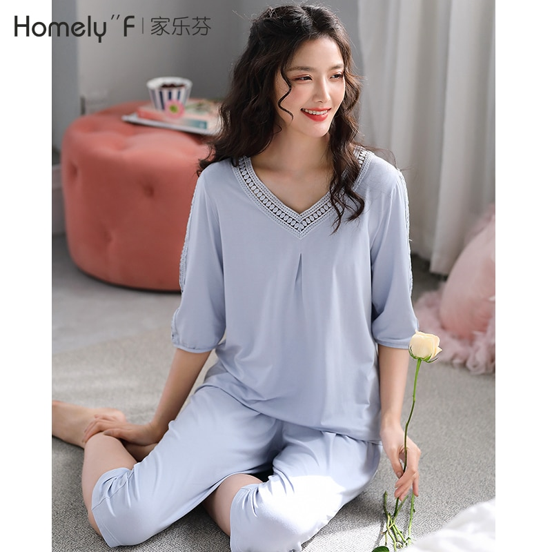Pajamas Female Summer Thin Short-Sleeved Half-sleeve Shirt Modal Cotton Silk Bourette Summer Home We