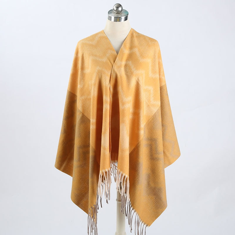2021 winter new women's scarf thickened warm cashmere Stripe Scarf fashion tassel couple shawl jacquard scarf Cashmere scarf