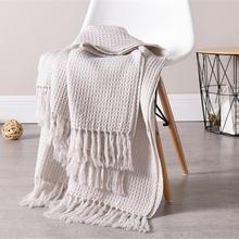 Couverture en laine rose pour canapé lit   50, couleur unie, tissu gaufré, décoratif nordique, Cape pour Towell