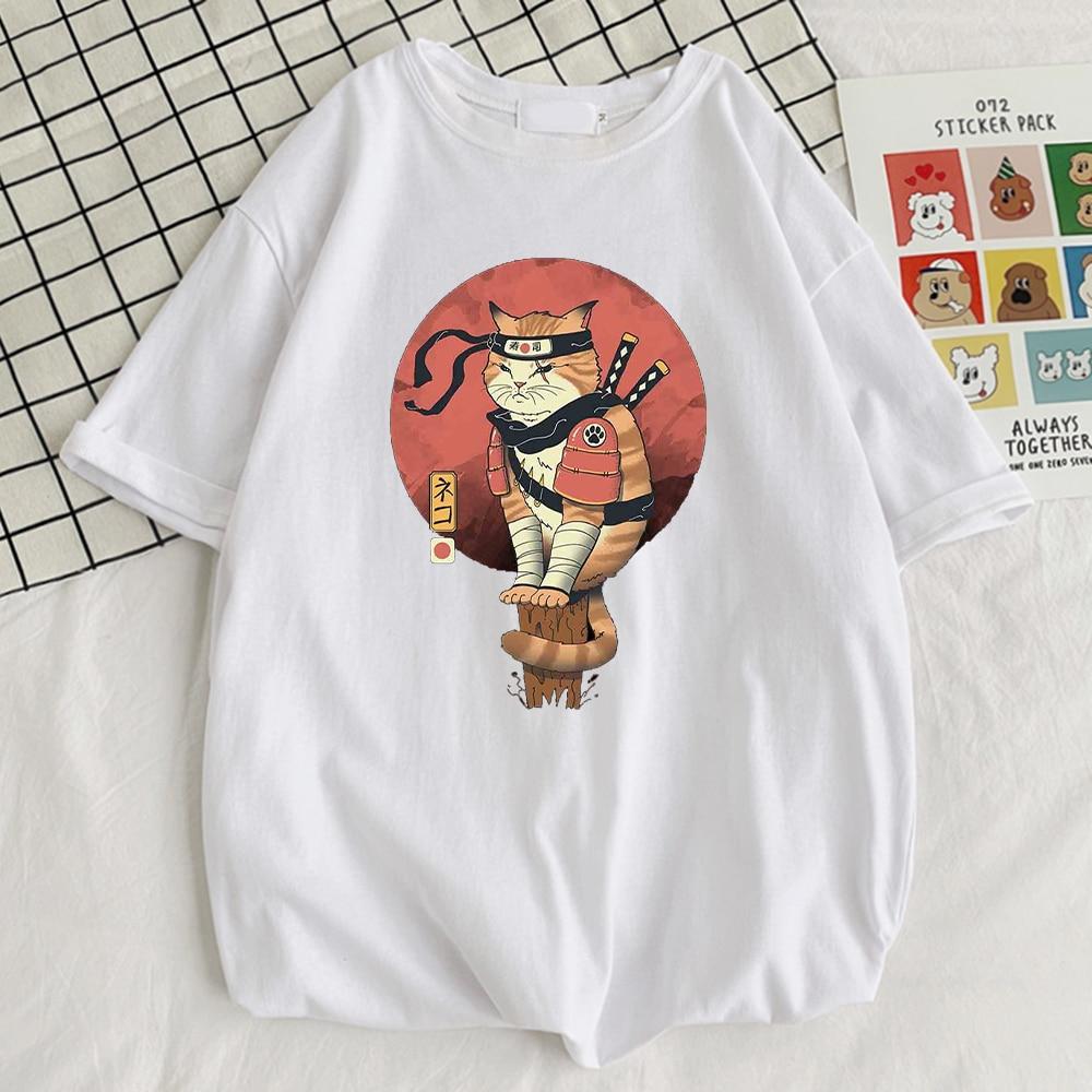 Крутая Мужская футболка с принтом кошки Shinobi, стильные футболки с круглым вырезом, Модные дышащие футболки, простые удобные мужские футболк...