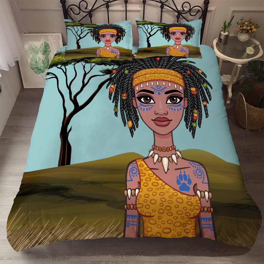 Juego de ropa de cama con tatuaje de trenza sucia para chica africana, camiseta amarilla, funda nórdica con decoración étnica Afro, colcha de 2/3 piezas, triangulación de envíos