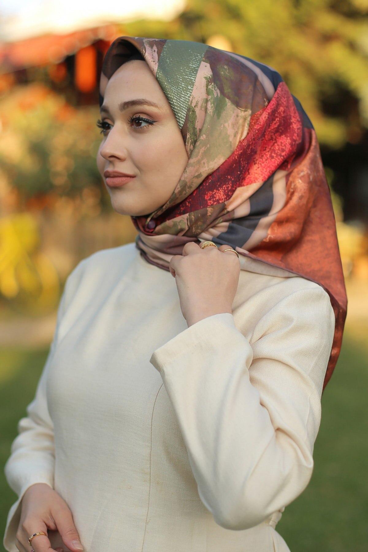 Женский шарф коричневый оранжевый саржевый шарф