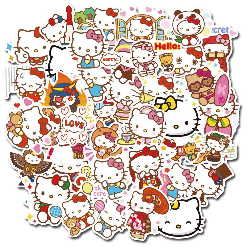 50/100 Hello Kitty Graffiti sans couture autocollants mignon personnalité dessin animé téléphone eau tasse plat bagage PVC étanche autocollant jouet