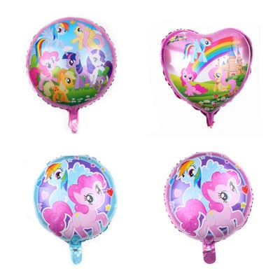 AliExpress - 5/10pcs 18 inch My Little Pony Theme Kids Birthday Party Decorations Aluminum Foil Balloons Disposable Round Balloons Supplies