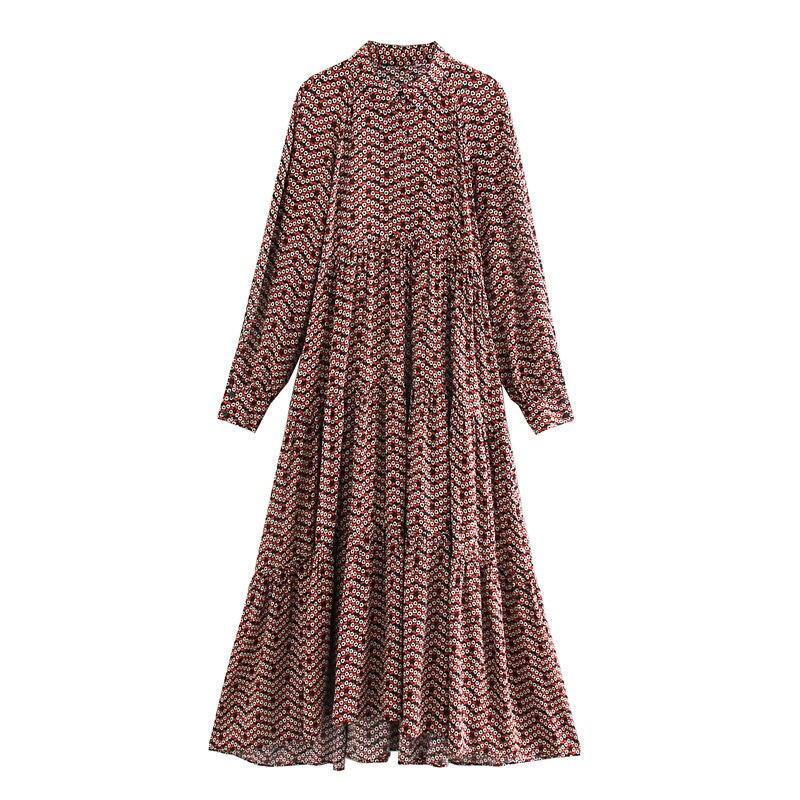 2019 novo vestido de manga comprida da cópia da flor das mulheres vestidos casuais festa longa solta maxi vestido elegante