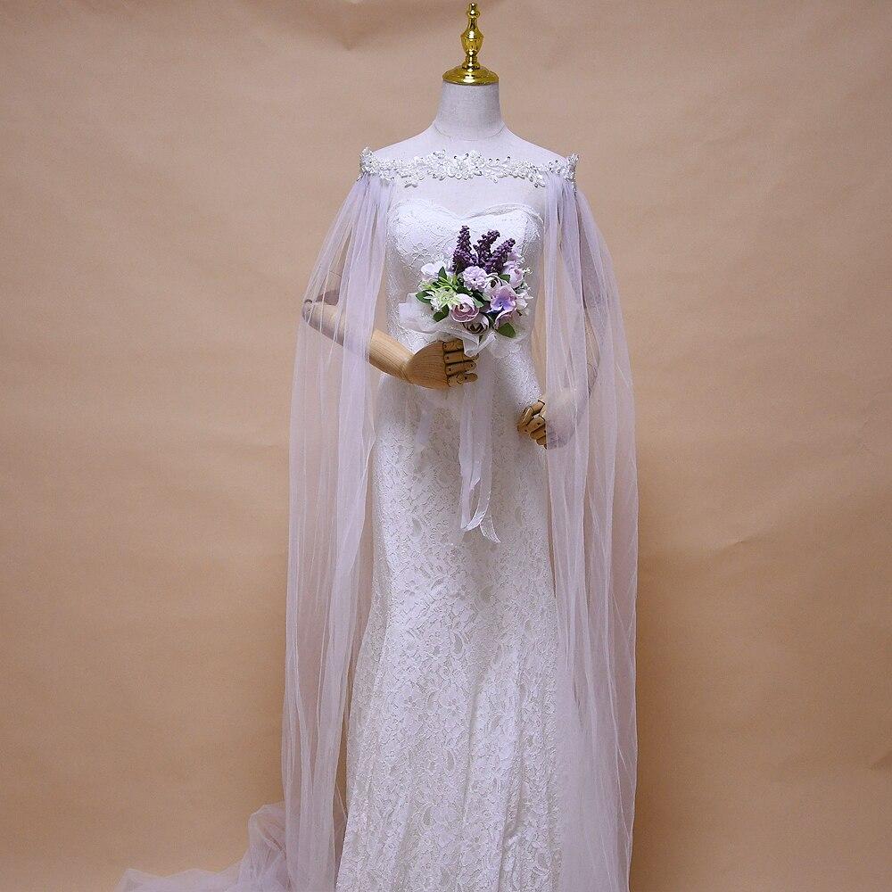 Элегантные длинные накидки ручной работы, женские накидки для свадьбы, шифоновые украшения с жемчугом, белые шали для невесты 3 м, накидки дл...