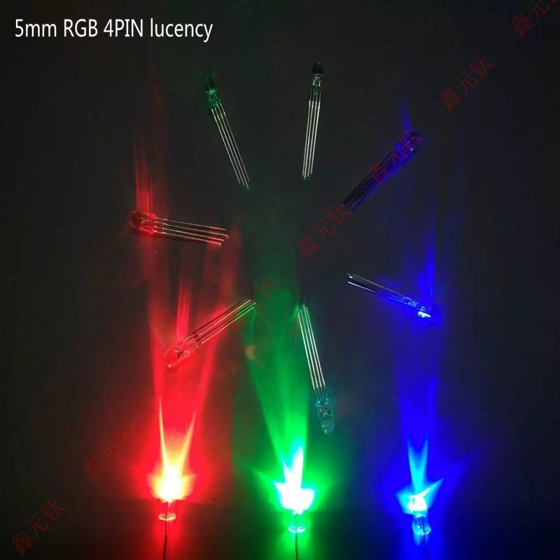 RGB 4PIN led lighting beads 4.8mm 5mm 8mm 10mm All the lights lucency vaporific cathode anode highlight 100pcs/lot
