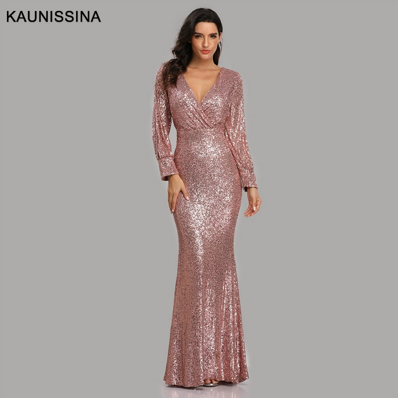 KAUNISSINA Formal Dress Sexy V Neck Sequined Mermaid Evening Dress Long Sleeve Trumpet Evening Party Gown 6 Colors ribbon tape detail trumpet sleeve smock dress