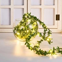 artificialgreen leaf vines 2m5mled copper wirelight stringwindowsill pendantcourtyard landscaping shopping mall windowdecoration