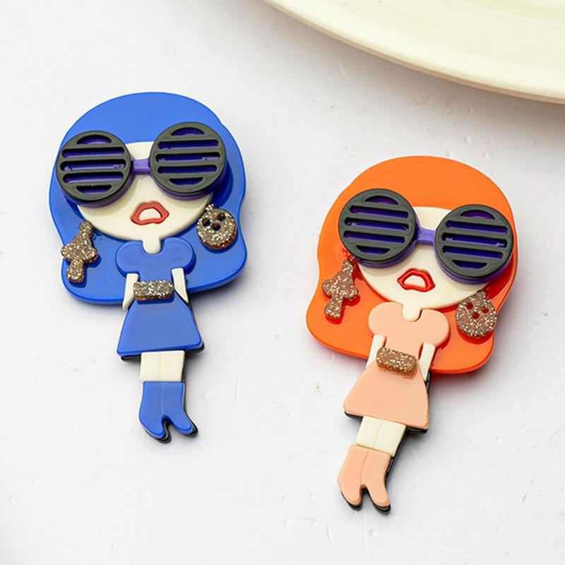 Nuevo diseño Sexy acrílico broches de niña para mujer azul Rosa chica con cristal pins punk ropa con solapa insignias moda joyería regalos