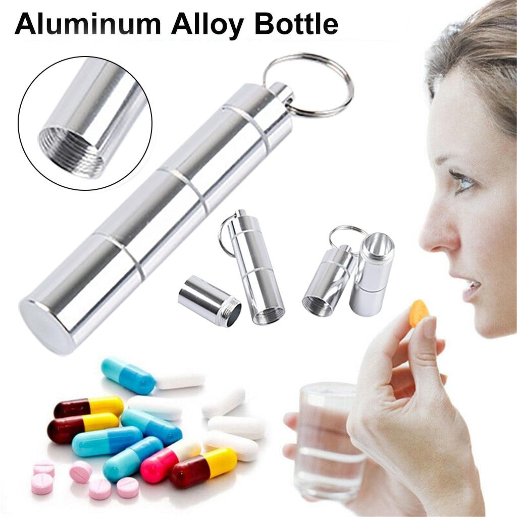 Caja de almacenamiento 1 Uds. Nueva Mini botella de plata llavero de aluminio contenedor de viaje al aire libre soporte de medicina caja de almacenamiento Boxes19OCT28