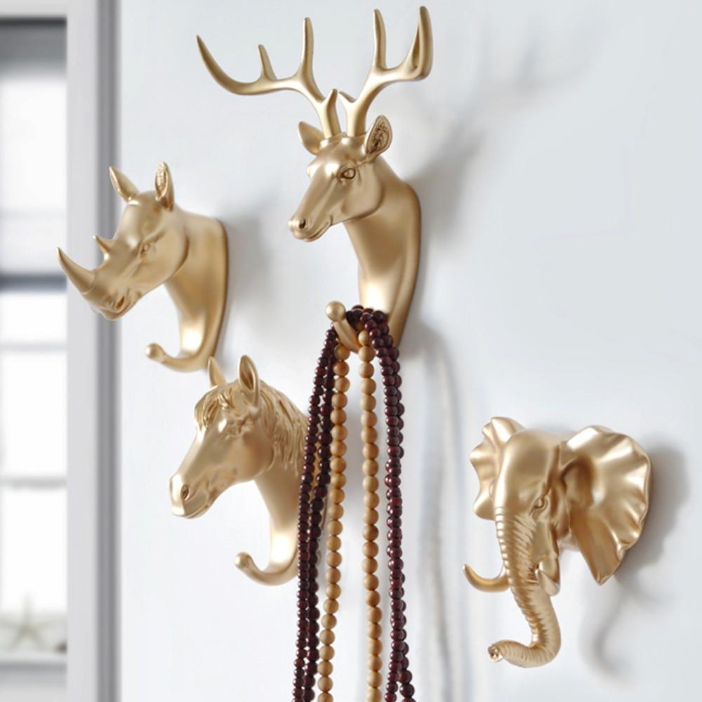 Nuevos ganchos para llaves creativos americanos gancho colgante para pared hogar fuerte sin costura gancho adhesivo gancho decorativo Animal creativo