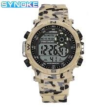 SYNOKE-montre-bracelet de Sport pour hommes, étanche, étanche, choc, affichage numérique, à la mode, montre LED