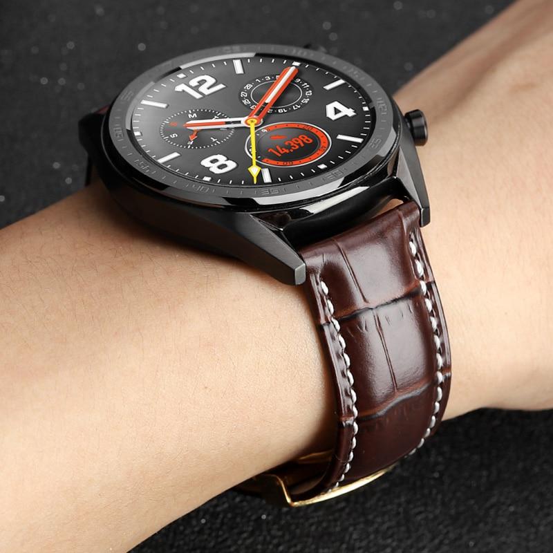 22mm pulseira de relógio de couro para huawei relógio gt para amazfit stratos 2/2 s honra relógio mágico 2 implantação fivela substituição cinta