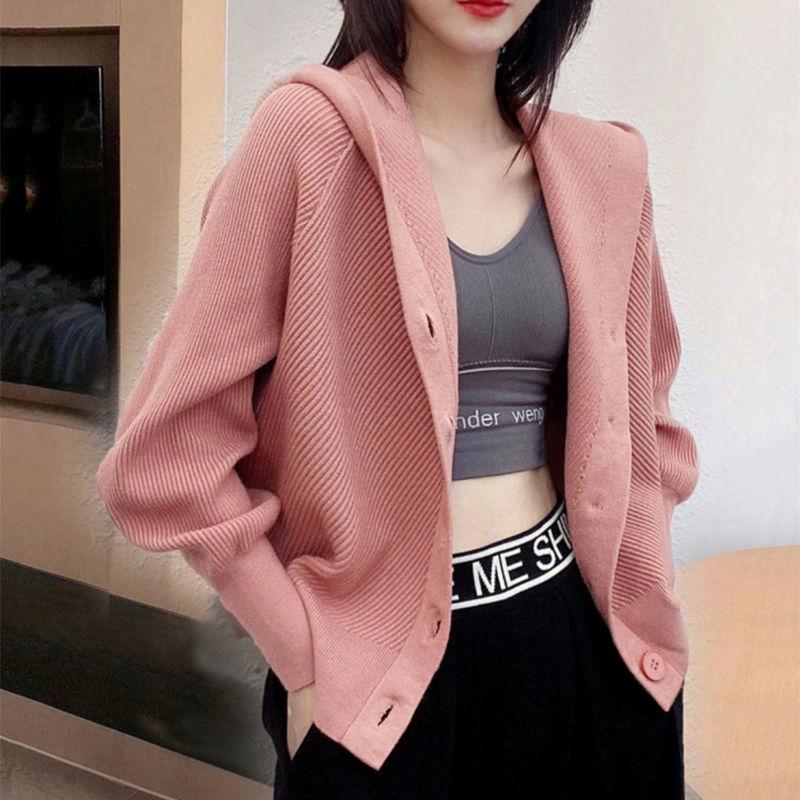 Knitted bat cardigan women's new style in spring and autumn with loose coat and hooded solid color versatile casual sweater enlarge
