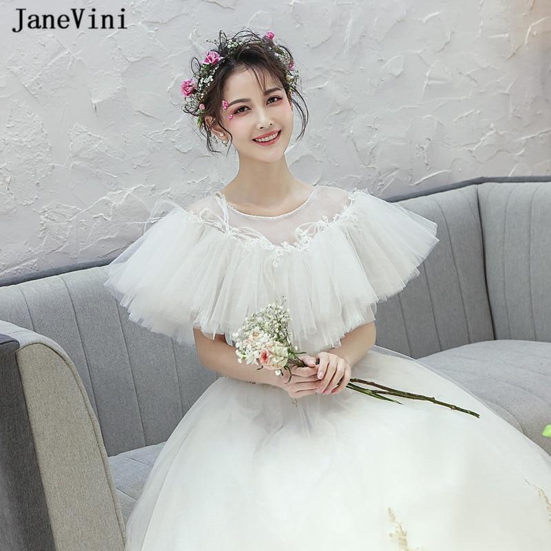 JaneVini verano blanco mujeres Bolero Puffy tul nupcial envolturas apliques con cuentas boda chales moda chaqueta de noche cabo Mariage