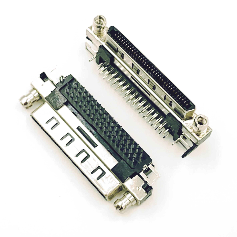 موصل أنثى SCSI VHDCI68 VHDCI 68P V68 V.68, محول أنثى من طبقة واحدة 90 درجة VHDCI 68P موصل أنثى