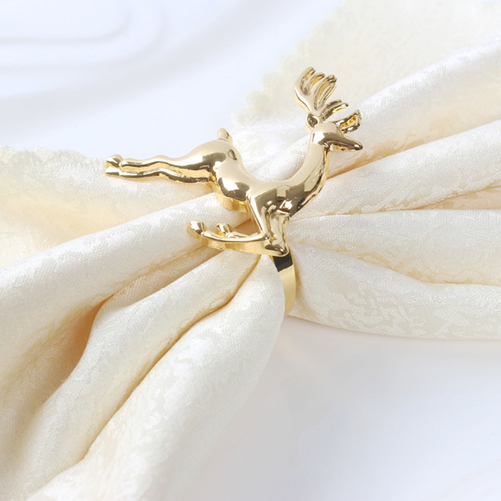 12 pçs/lote veados Natal Liga de Ouro Prata anéis de guardanapo guardanapo fivela guardanapo fivela mesa festa de casamento decoração do hotel