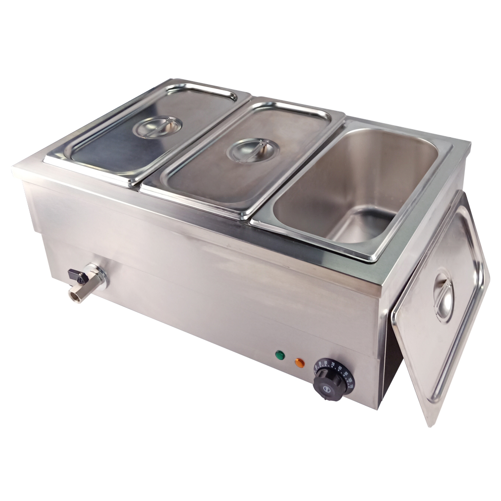 Aquecedor de alimentos elétrica bain marie três panelas steamer casa 25 litros 220 v para restaurante catering