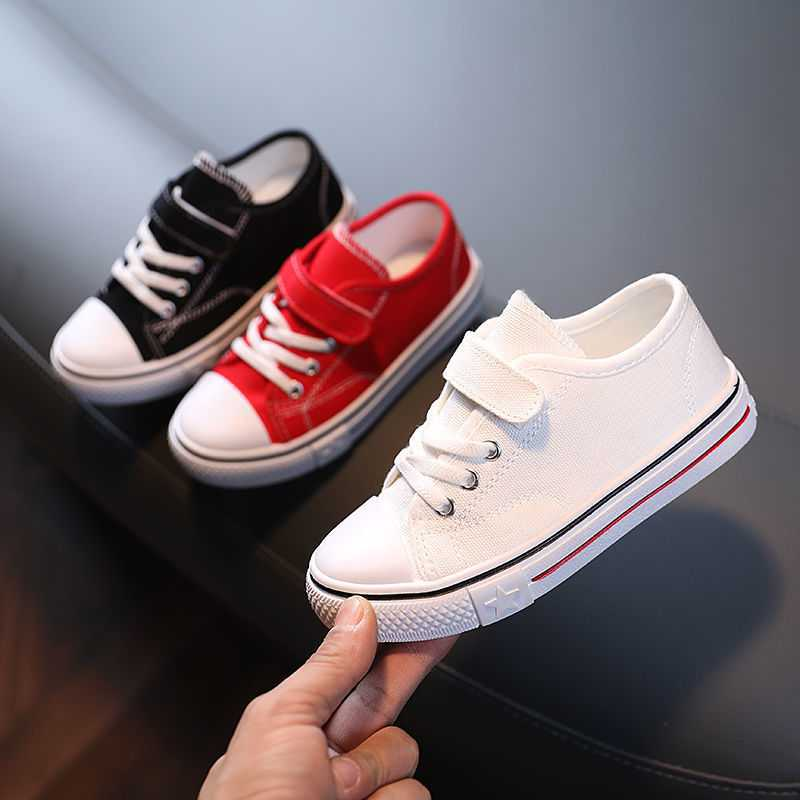 Canvas Shoes Children Low Cut Students Boys and Girls White Fashion School Four Seasons Hot In Kids 22-38 All Match