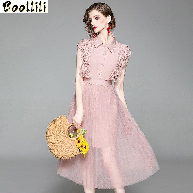 Boollili قطعتين مجموعة فستان صيفي 2020 خمر قميص أنيق فستان ماكسي ملابس حريمي حفلة الوردي شبكة فستان نسائي Vestidos