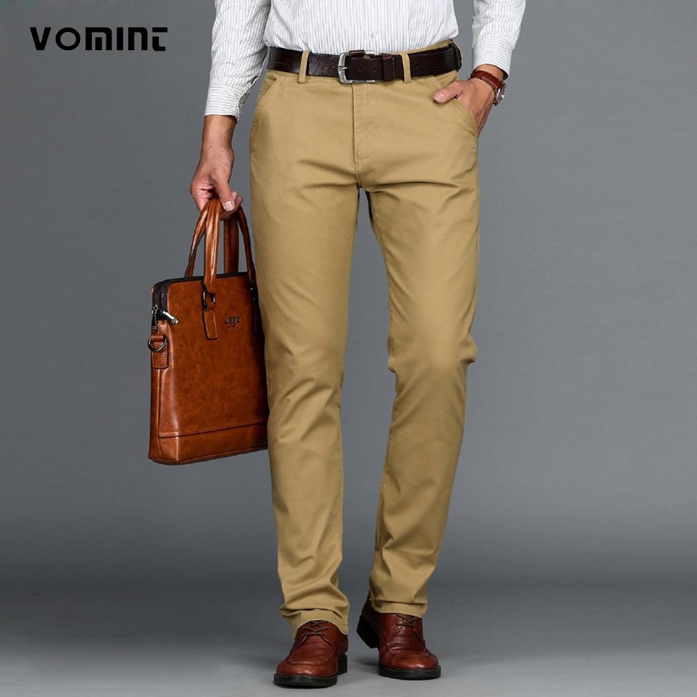 VOMINT Mens Pants Cotton Casual  Stretch male trousers man long Straight High Quality 4 color Plus size pant suit  42 44 46